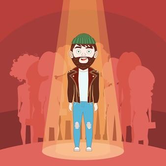 Begaafde hipster-mens die zich in schijnwerper over de achtergrond van silhouetmensen bevinden