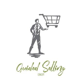 Begeleide verkoop, winkel, markt, mand, klantconcept. hand getekende manager met trolley aan kant concept schets.