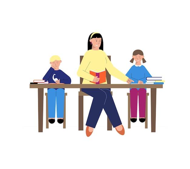 Begeleiden van platte compositie met kinderen die lezen met een vrouwelijke leraar