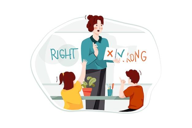 Begeleiden van studenten verkeerde of juiste illustratie concept