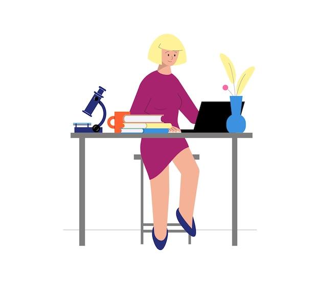 Begeleiden van vlakke afbeelding met vrouwelijk personage met online wetenschapsles met boeken en microscoop