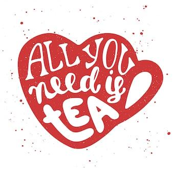 Begin met koffie in hart beker met letters