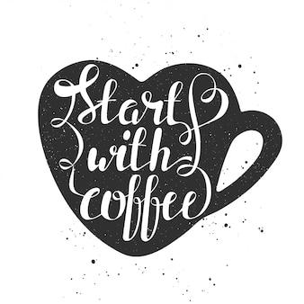 Begin met koffie in hart cup in vintage stijl.