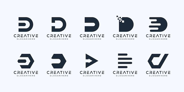 Beginletter d logo-ontwerp instellen