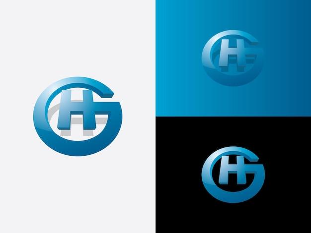 Beginletter g in cirkelvorm met beginletter h in het midden in blauwe kleur logo vector pictogram monogram sjabloon