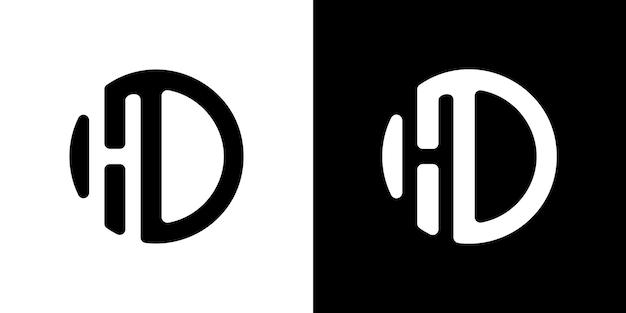 Beginletter logo hd binnen cirkelvorm hd ho binnen o afgeronde kleine letters zwart premium vector