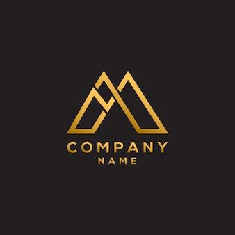 Beginletter m eenvoudig luxe en elegant letter m-logo