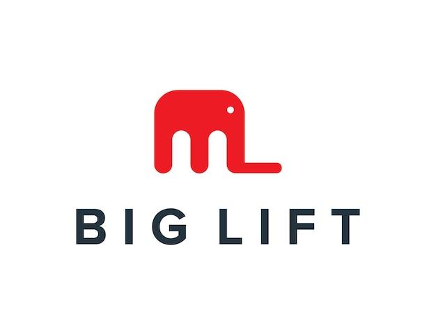 Beginletter m met olifant en lift eenvoudig strak creatief geometrisch modern logo-ontwerp