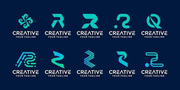 Beginletter r rr logo sjabloon iconen voor zaken van mode sport technologie digitaal