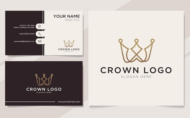 Beginletter w met kroonelementlogo en sjabloon voor visitekaartjes