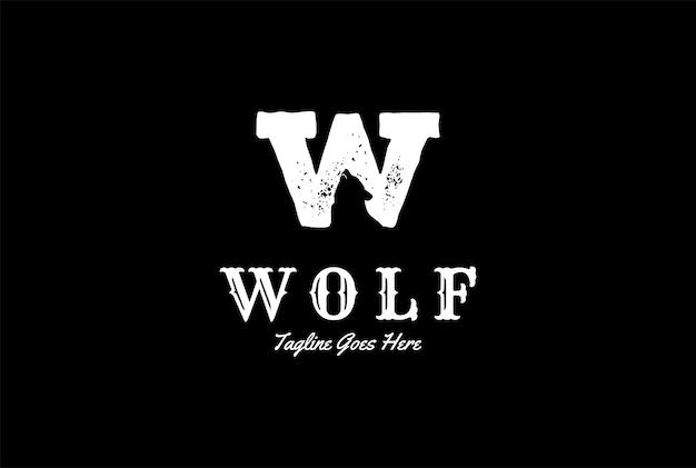 Beginletter w voor wolf logo design vector