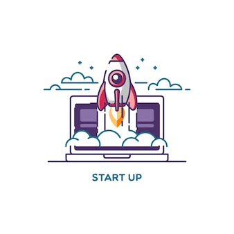 Beginnen. lijn platte ontwerp illustratie concept van nieuw zakelijk project, ontwikkeling en lancering van een innovatieproduct op een markt.