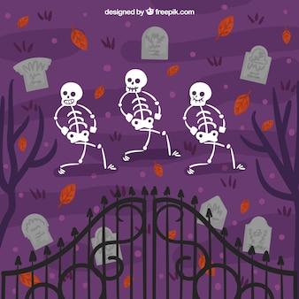 Begraafplaats achtergrond met skeletten dansen