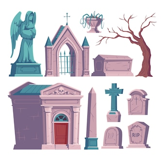 Begraafplaats, grafsteen met rip inscriptie, ossuarium