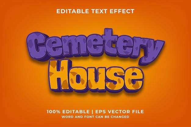 Begraafplaats huis 3d bewerkbaar teksteffect premium vector