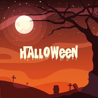 Begraafplaats in scène halloween