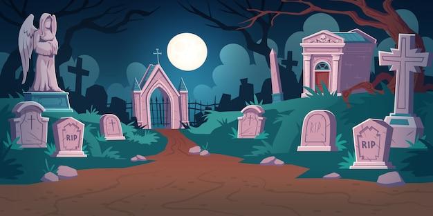 Begraafplaats landschap 's nachts