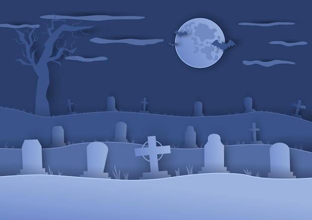 Begraafplaats of kerkhof achtergrond in papier gesneden kunststijl maan en silhouetten van grafstenen