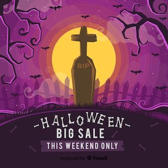 Begraafplaats op een verkoop van halloween van de volle maannacht