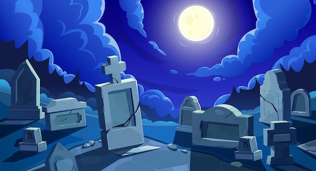 Begraafplaats 's nachts met volle maan, kerkhof met grafstenen en gebarsten stenen kruisen.