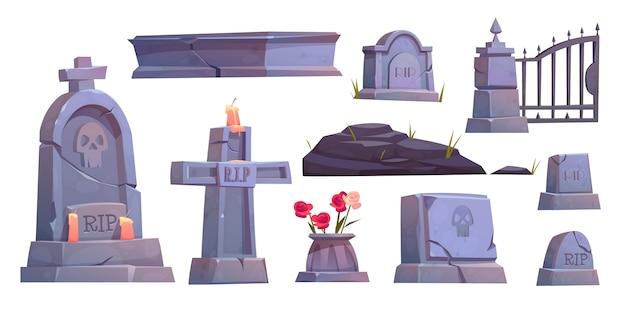 Begraafplaats set, grafsteen grafsteen, metalen poort Gratis Vector