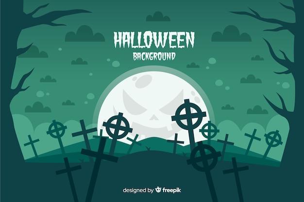 Begraafplaatskruisen op een achtergrond van halloween van de volle maannacht