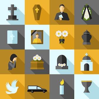 Begrafenis pictogrammen platte set