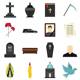 Begrafenis set plat pictogrammen