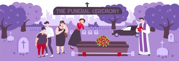 Begrafenisceremonie op begraafplaats met huilende mensen die met bloemen rond de kist staan