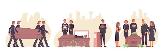 Begrafenisset van composities met menselijke karakters van naasten en dierbaren met pastoor en krans