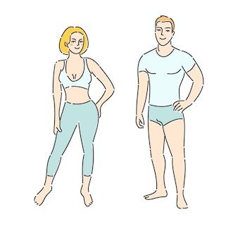 Begrip geschiktheid. fitness man en vrouw op witte achtergrond. platte ontwerp, vectorillustratie.