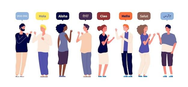 Begroeting in moedertaal. internationale multiraciale vrienden spreken hallo. buitenlandse taal