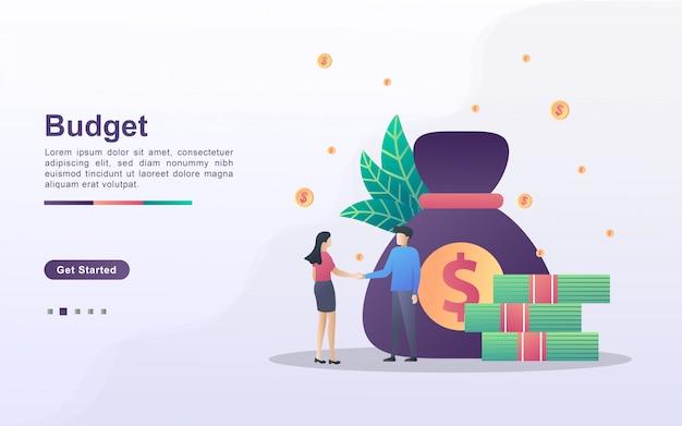 Begroting financieel concept. samenwerking tussen mannen en vrouwen, bedrijfsinvesteringen, winst behalen uit zaken, samenwerking en teamwerk. kan worden gebruikt voor weblandingspagina, banner, mobiele app.