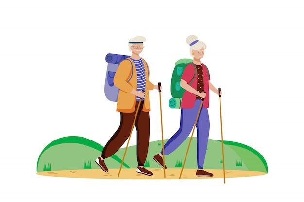 Begroting toerisme platte vectorillustratie. wandelen activiteit. goedkoop reizen keuze. actieve vakantie. bejaarde echtpaar op een bergtocht. wandelroute