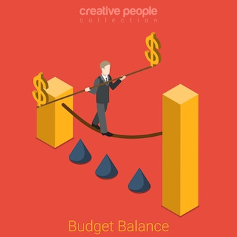 Begrotingssaldo plat isometrische bedrijfsfinanciën overheid staat bedrijfsfinanciën concept zakenman touw lopen dollarteken paal. creatieve mensencollectie