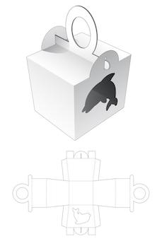 Behandel de verpakking met een sjabloon in de vorm van een dolfijn in de vorm van een raam