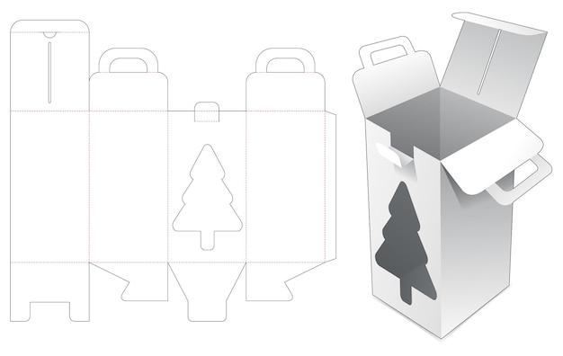 Behandel een hoge doos met een gestanste sjabloon in de vorm van een kerstboom