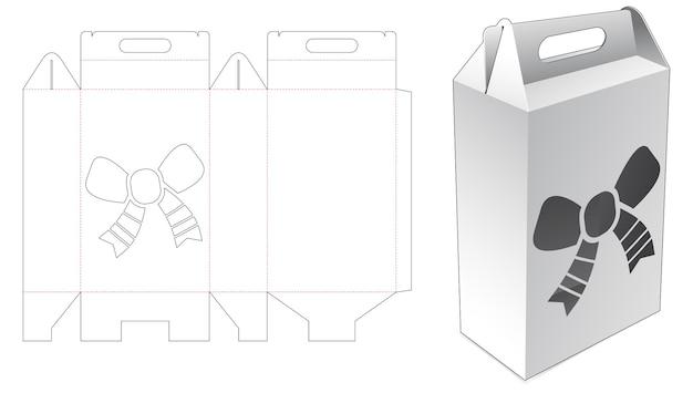 Behandel golfkartonnen doos met gestanste sjabloon voor venster in de vorm van een kerstboog