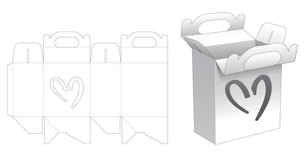 Behandel kartonnen verpakkingen met een hartvormig raamgestanst sjabloon