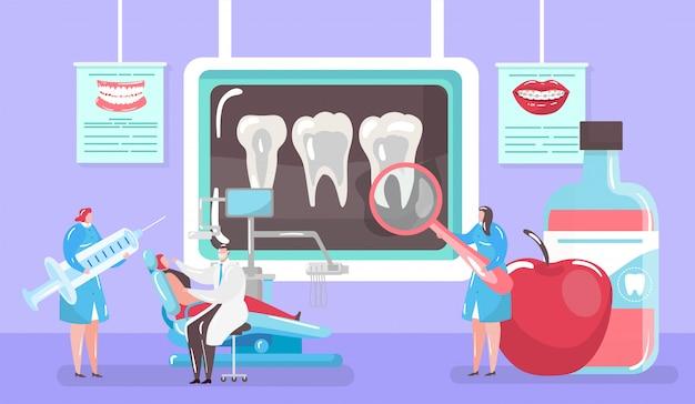 Behandeling van cariës concept, x-ray tand en medische genezing door tandarts en patinet in tandartsstoel mini mensen cartoon afbeelding.