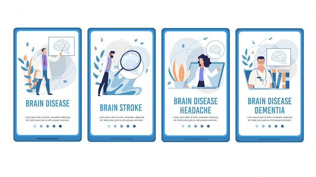Behandeling van hersenziekten mobiele platte webpagina set