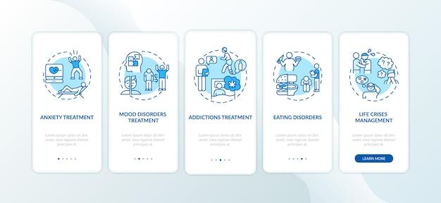 Behandeling van psychische problemen onboarding mobiele app-paginascherm met concepten