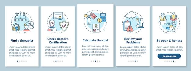 Behandelingsstappen voor psychotherapie op het scherm van de mobiele app-pagina met concepten