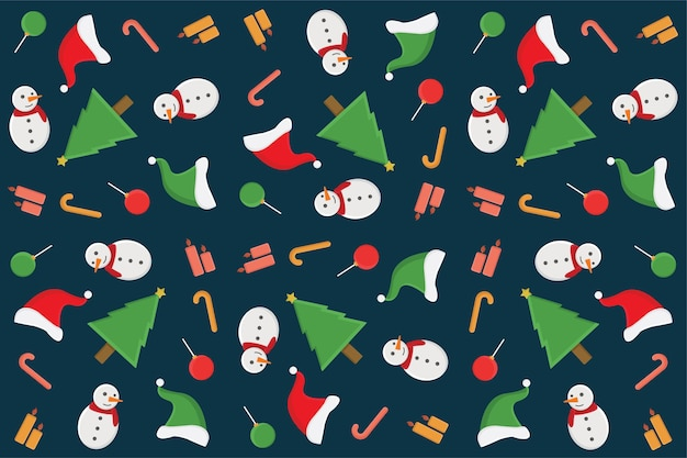 Behang app lineart stijl commercieel kunst campagne schets doodle set achtergrond patroon christmast