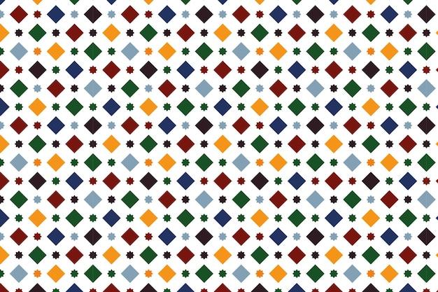 Behang dat een granada-tegel simuleert, met een patroon van vierkanten en achtpuntige sterren