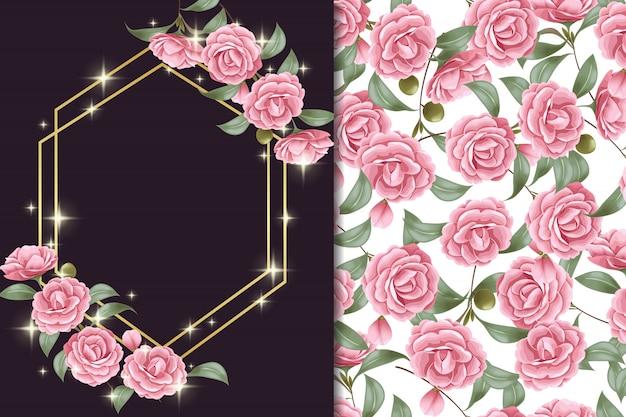 Behang en patroon van roze roos retro stijl