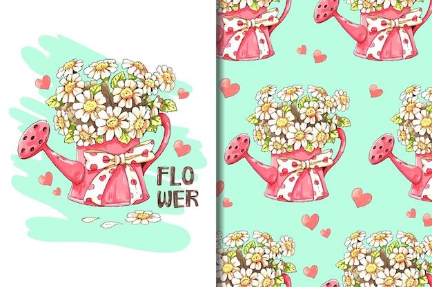 Behang en patroon witte bloem in rode gieter cartoon