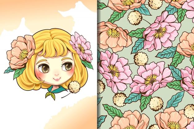 Behang en patroonmeisje en bloem