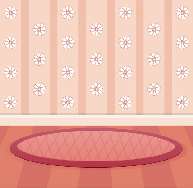 Behang en vloer kleur roze perzik ontwerpkamer.