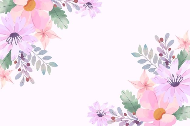 Behang met aquarel bloemen in pastel kleuren